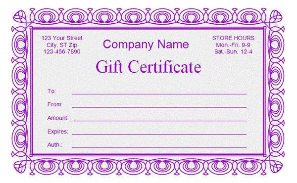 Sample Gift Certificate. Travel Gift Certificate Sample Word ...