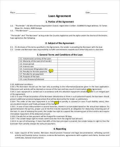 Loan Agreement Form Samples - 8+ Free Documents in Word, PDF