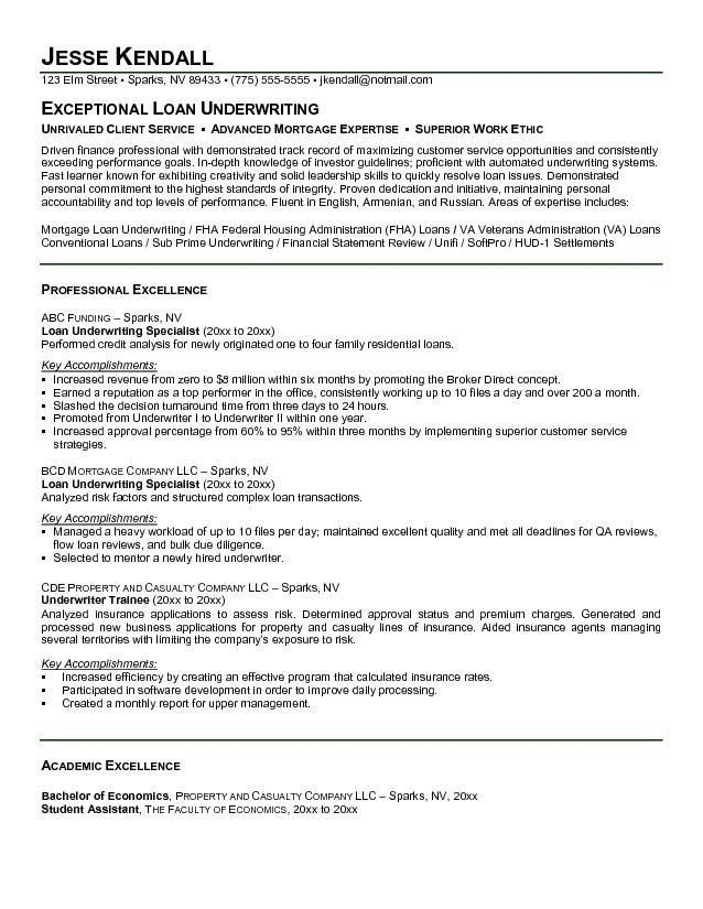 Free Loan Underwriting Specialist Resume Example
