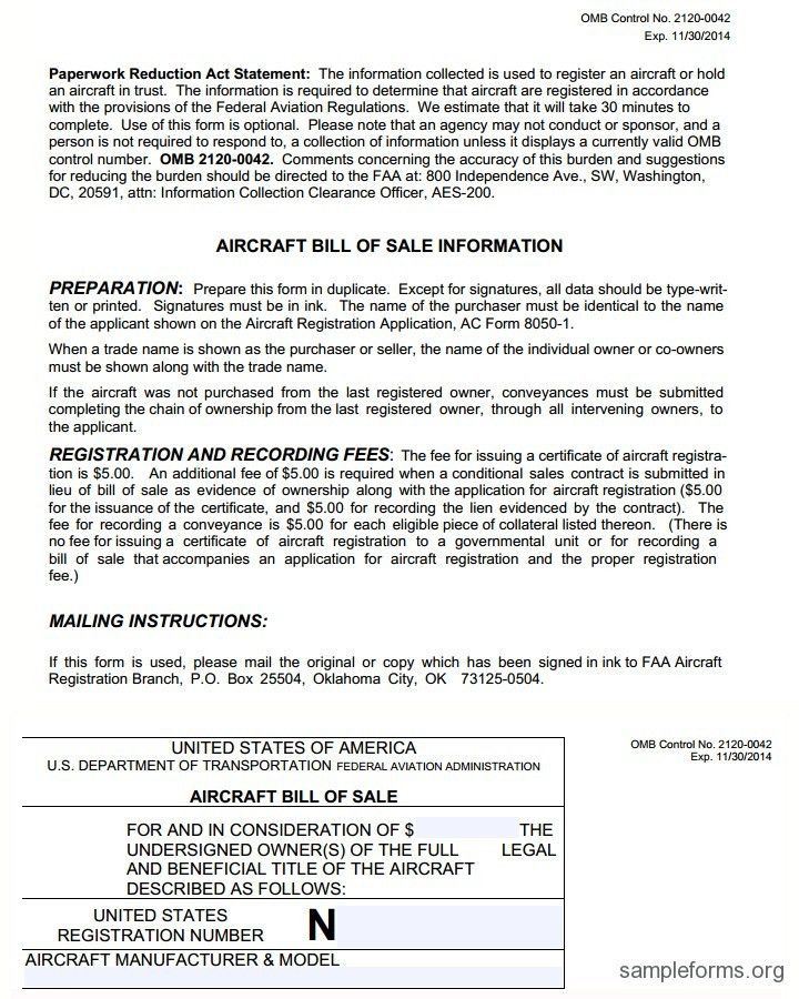 Aircraft Bill of Sale Form, sample Aircraft Bill of Sale Form ...