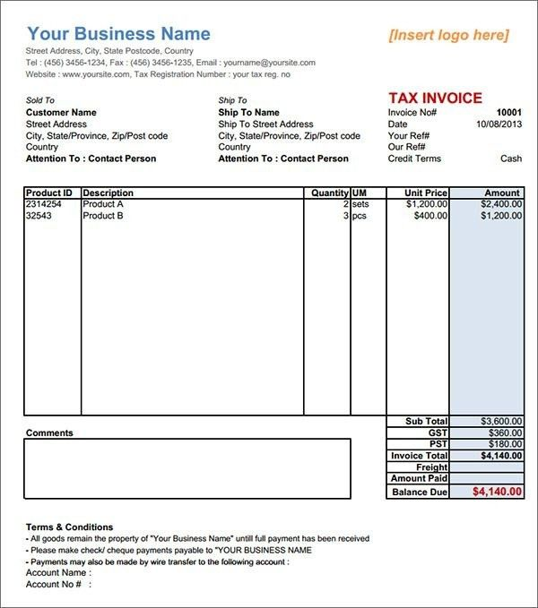 Tax Invoice Template - Best Resume Collection