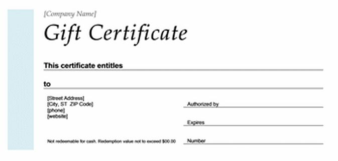 Gift Certificate Format – Microsoft Office Templates
