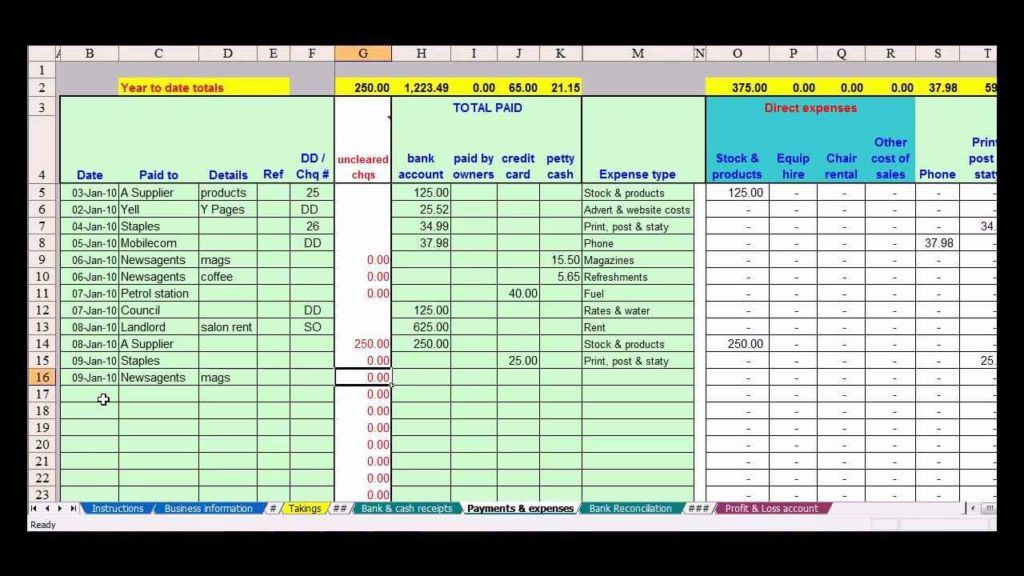 Excel Template Basic Accounting | Professional resumes sample online