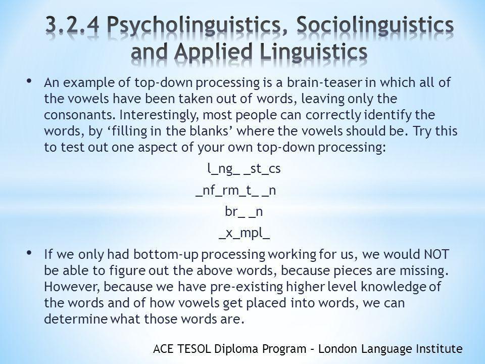 ACE TESOL Diploma Program – London Language Institute OBJECTIVES ...