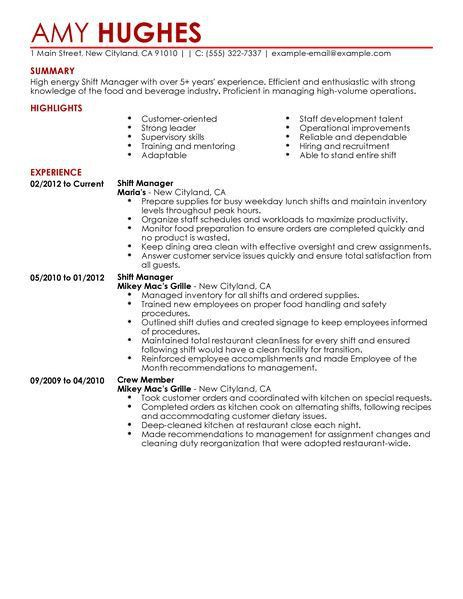 Shift Manager Resume - Resume Example