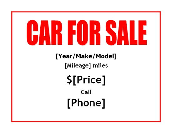 28+ Vehicle For Sale Sign Template | Car For Sale Sign Office ...