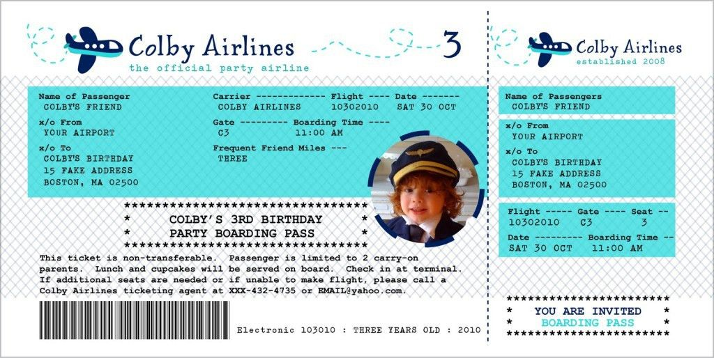 Printable Airline Ticket Template - Contegri.com
