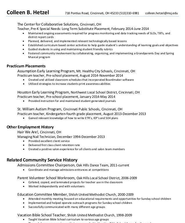 example of pre k teacher resume  exampleresumecvorg sample