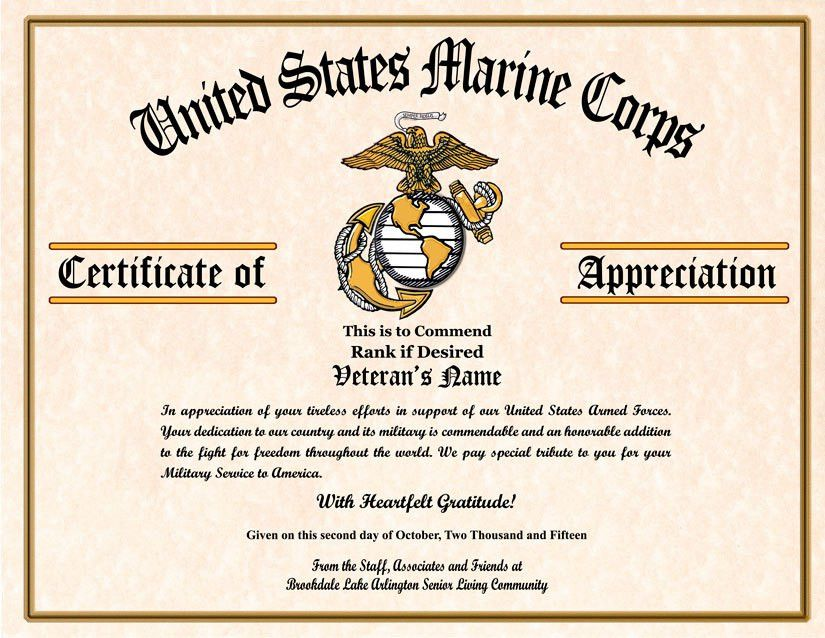 Military Veterans Appreciation Certificates | Veterans day | Pinterest