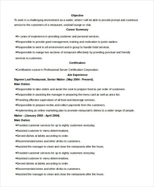 Description Of Waitress For Resume Sample Cv For Waitresses – Waiter Resumes