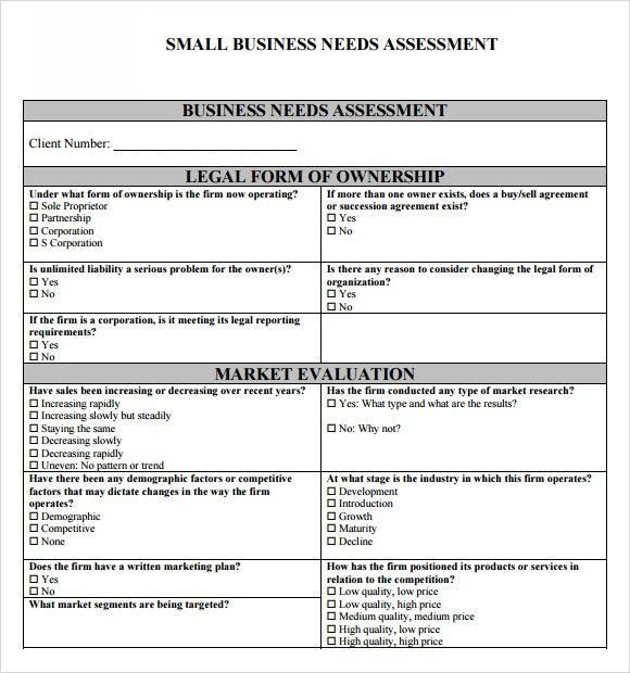 Business Needs Assessment Template Needs Assessment Template