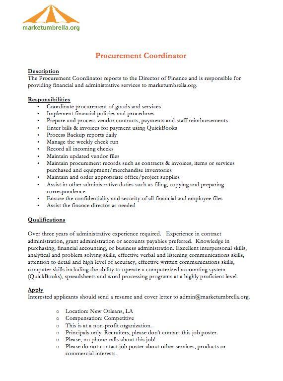 procurement job description - RESUMEDOC