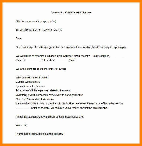 6+ sample of sponsor letter   it cover letter