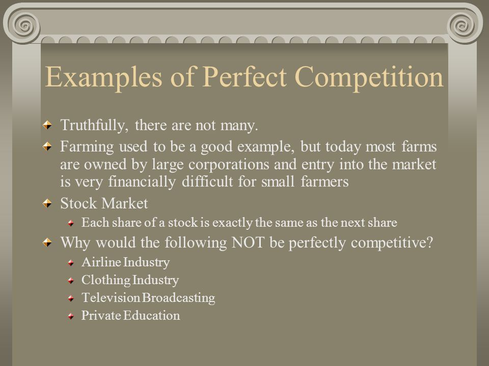 Perfect Competition Completely Unrealistic Yet Entirely Relevant ...