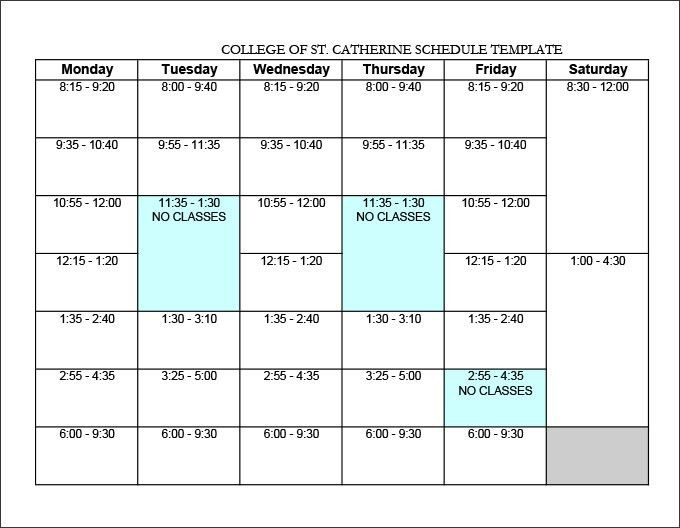 College Schedule Template – 7+ Free Word, Excel, PDF Format ...
