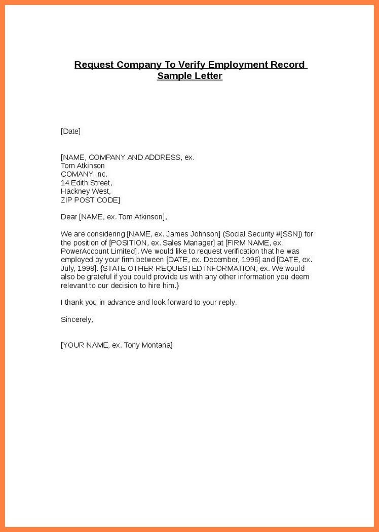Employment Verification Letters. Employment Verification Letter ...