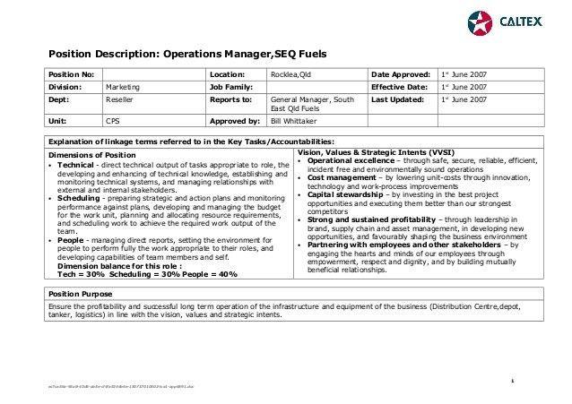 Position Description Operations Manager August 2007