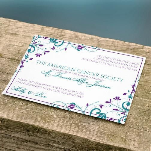 Donation Card Favor Template | Chic Bouquet (Jade & Purple)