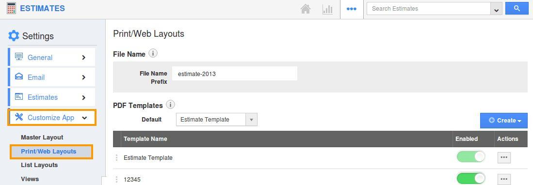 How can I Create Custom PDF Template for my Estimates? | Apptivo FAQ