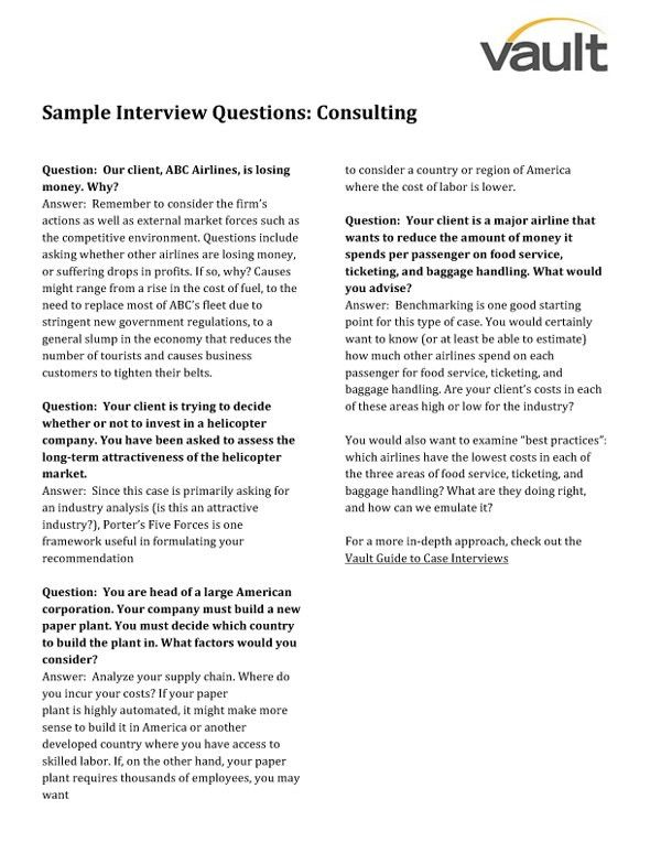 Sample Consulting Interview Questions Interview Questions|Vault.com