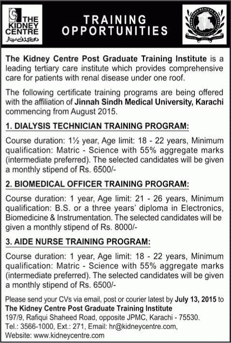 Dialysis Technician Training Program Jobs in The Kidney Centre