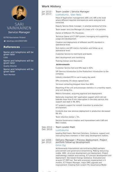 Service Manager Resume samples - VisualCV resume samples database