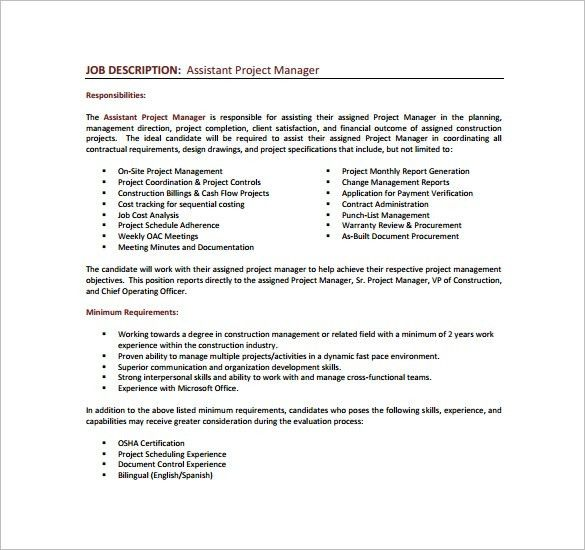 Project Manager Job Description Template   10+ Free Word, PDF .
