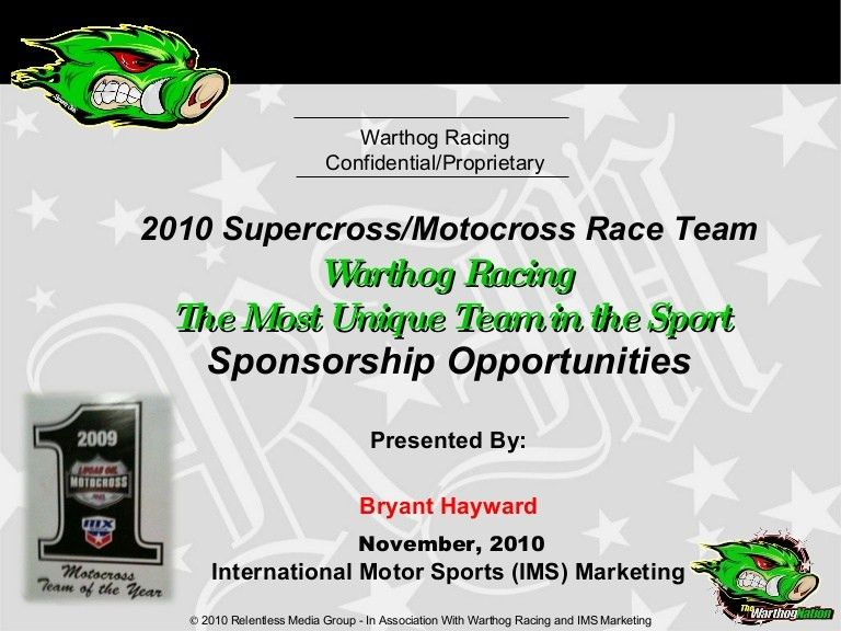 2010 Warthog Racing Prosposal For Sponsorship