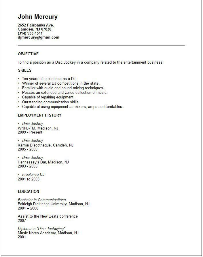 reference for resume template