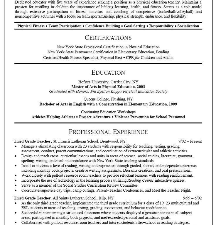 health and physical education resume. physical education teacher ...
