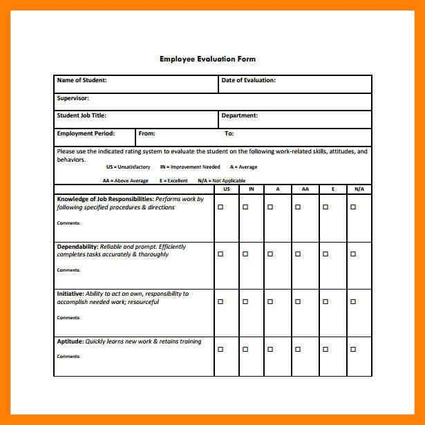 Employee Evaluation Form. Employee Self Evaluation Form Sample ...