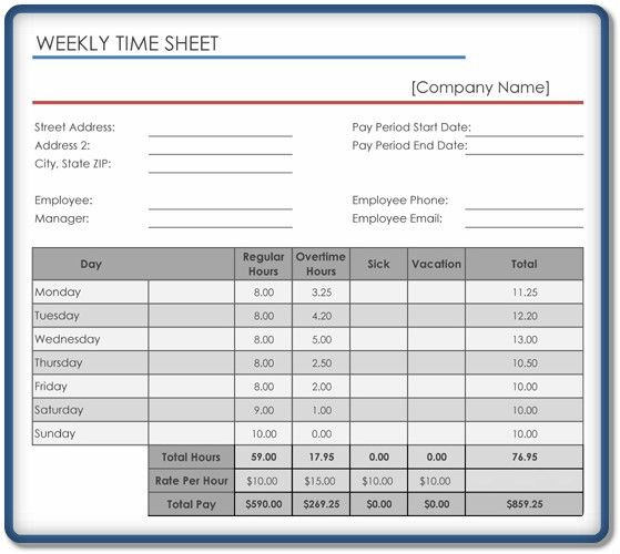 Weekly Timesheet Template – 5+ Free Templates in Excel, Word, PDF ...