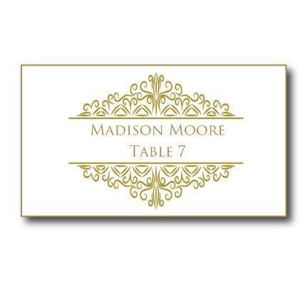 Gold Wedding Place Card Template - Instant Download - EDITABLE ...