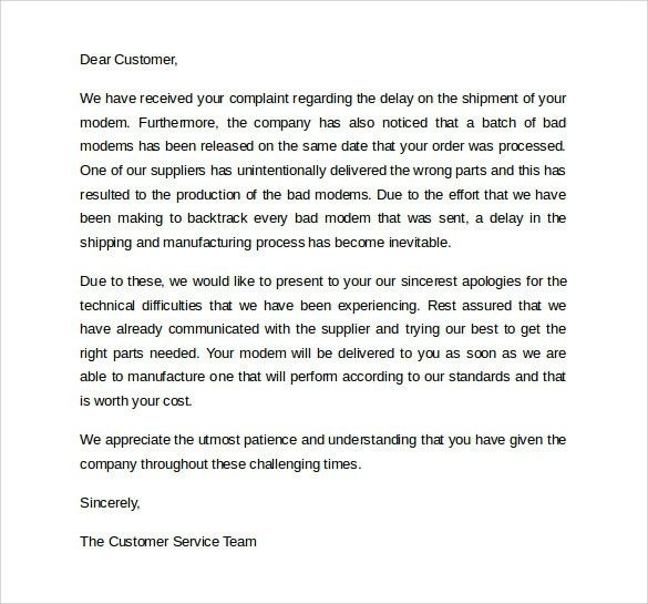 Apology Letter To Customer Apology Letter Examples Sample