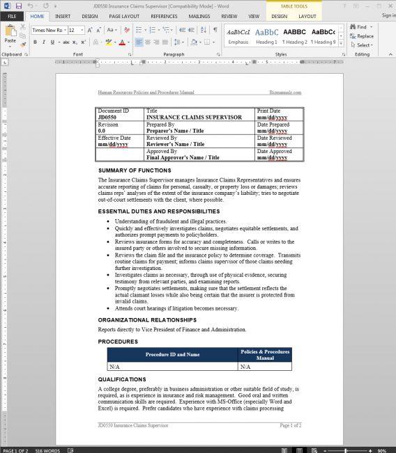 Insurance Claims Coordinator Job Description | Letter Of ...