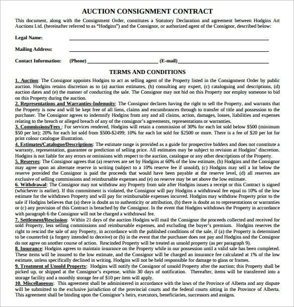 Consignment Contract Template- 17+ Download Free Documents in PDF ...