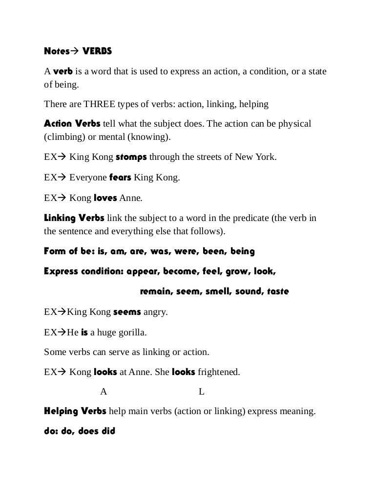 Verb notes
