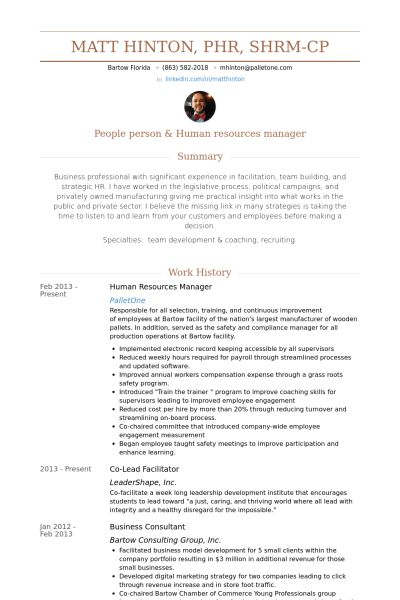 human resources manager resume examples