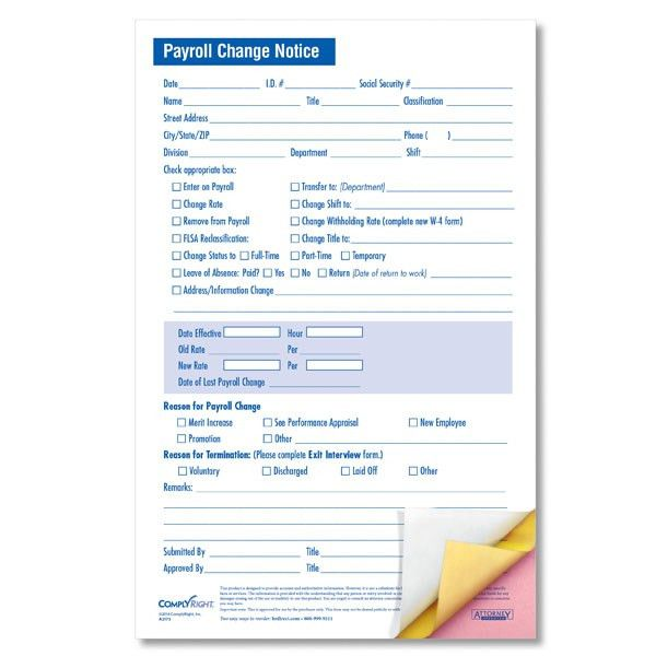 Small-Size Payroll Change Form with Three Carbonless Copies