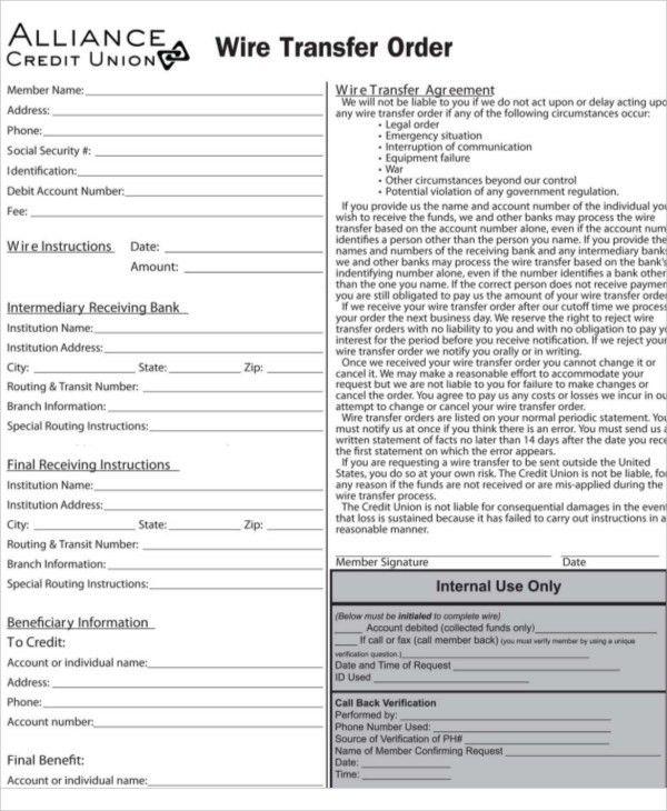 Generic Wire Transfer Form - Blonton.com