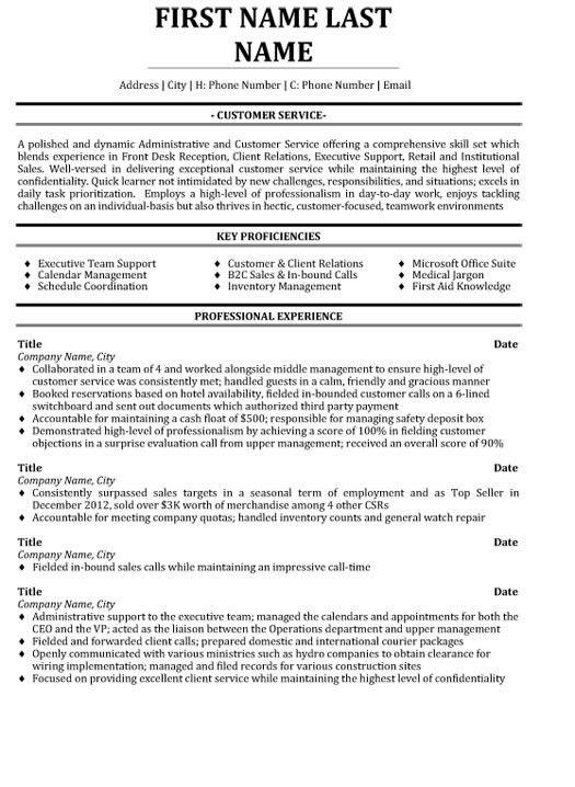 Download Resume Samples For Customer Service ...