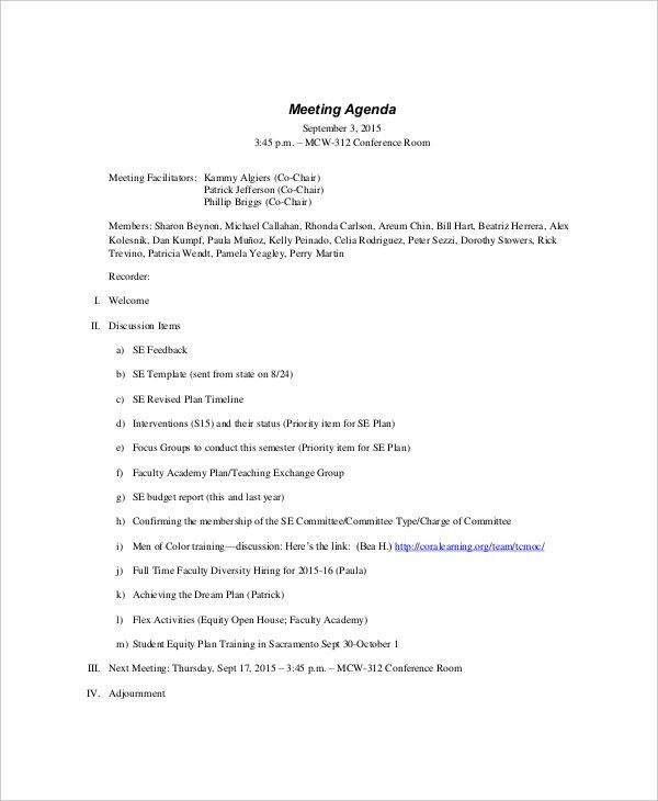 12+ Formal Meeting Agenda Templates – Free Sample, Example Format ...