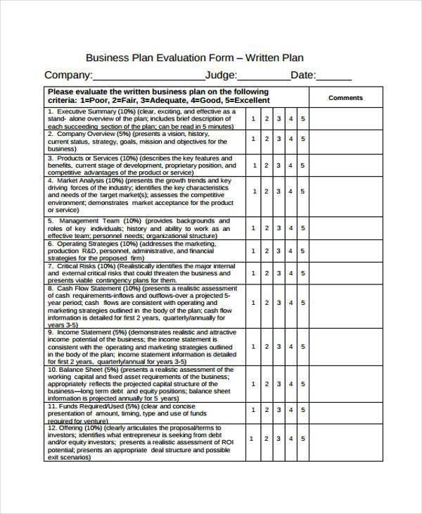 9+ Business Evaluation Form Samples - Free Sample, Example Format ...