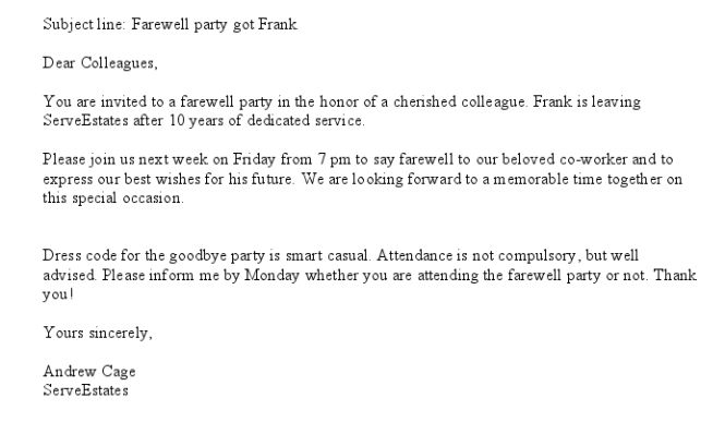 farewell party invitation colleague : Cogimbo.us