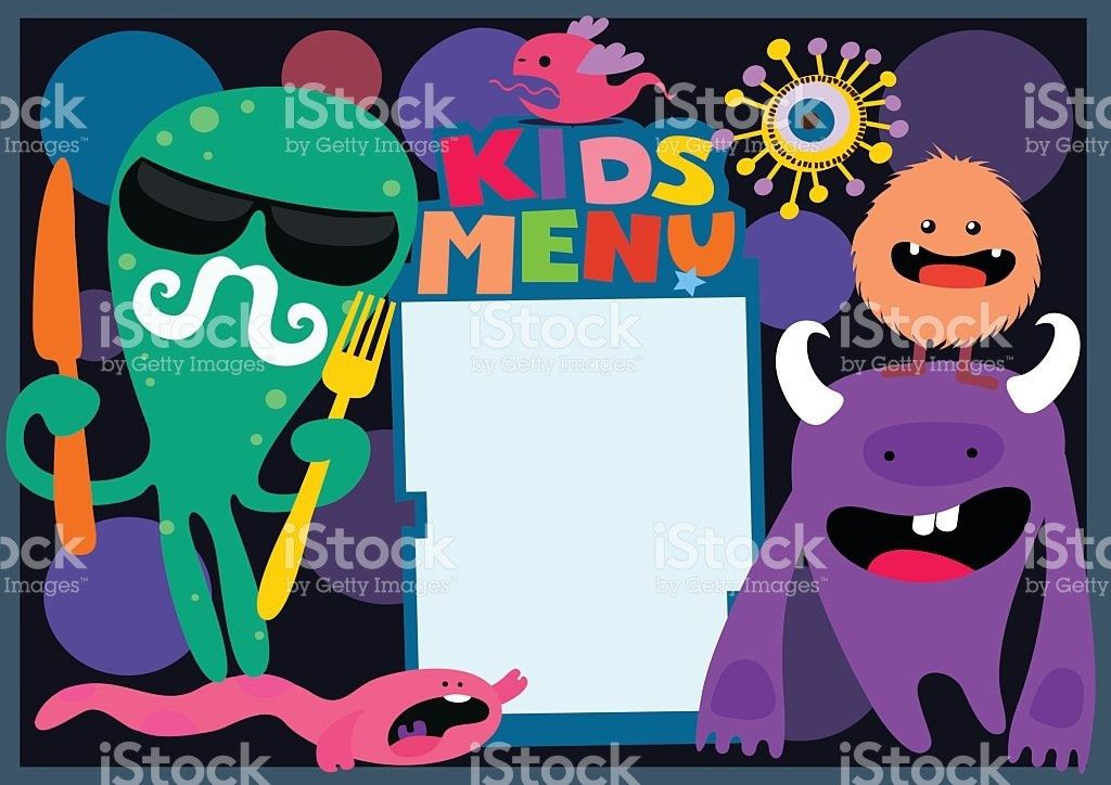Kids Menu Template With Monsters stock vector art 485969089 | iStock