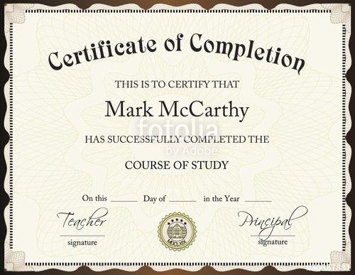 "CERTIFICATE OF COMPLETION TEMPLATE"" Stock image and royalty-free ..."