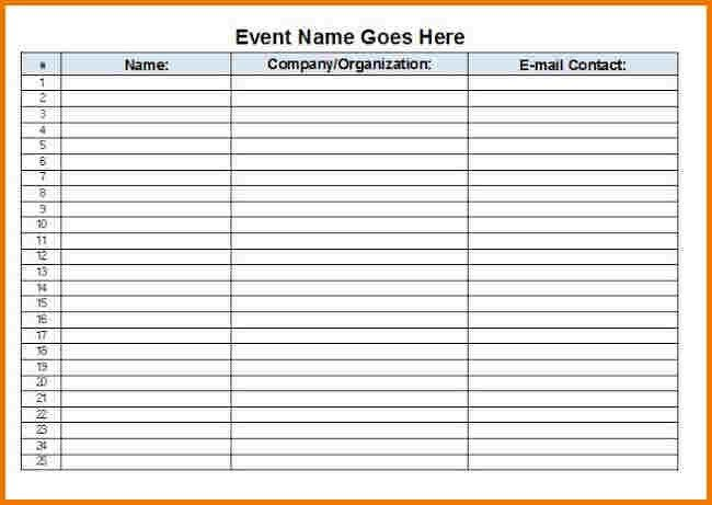Event sign in sheet template | Authorization Letter Pdf