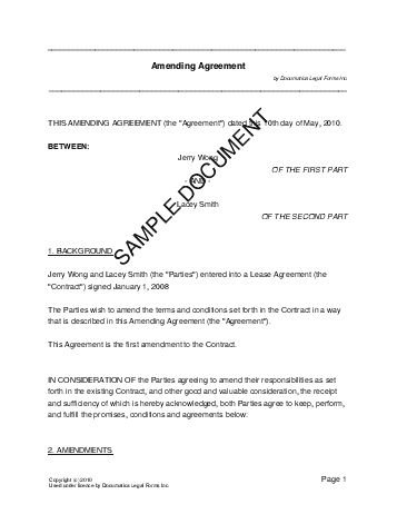 Amending Agreement (USA) - Legal Templates - Agreements, Contracts ...
