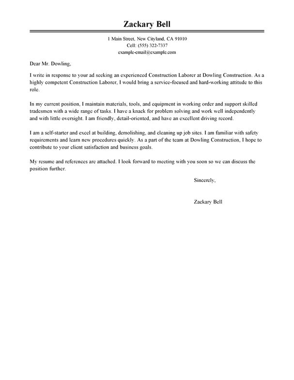 best construction cover letter examples livecareer - Relocation Cover Letter Examples