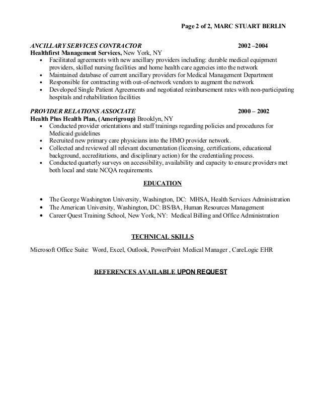 Marc S Berlin Health Care Resume